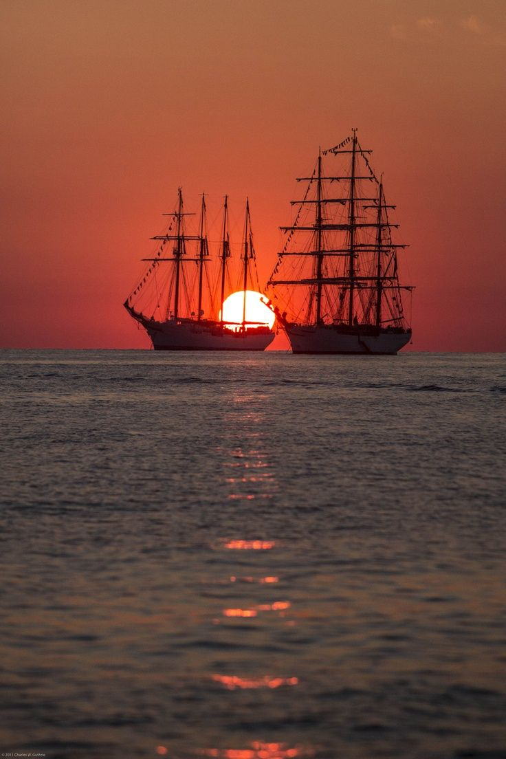 tall ships sunset