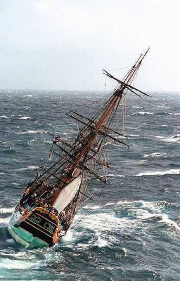 sailing ship in the strom