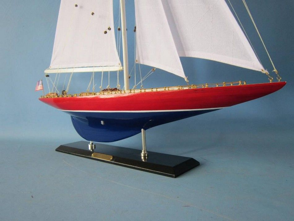 America's Cup American Eagle Wooden Yacht Model (12)