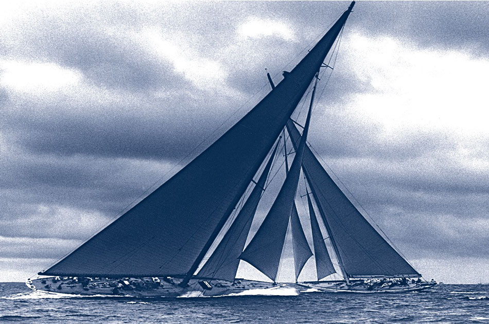 Famous Sailboat Under Sails, J Class Racing America's Cup Race: