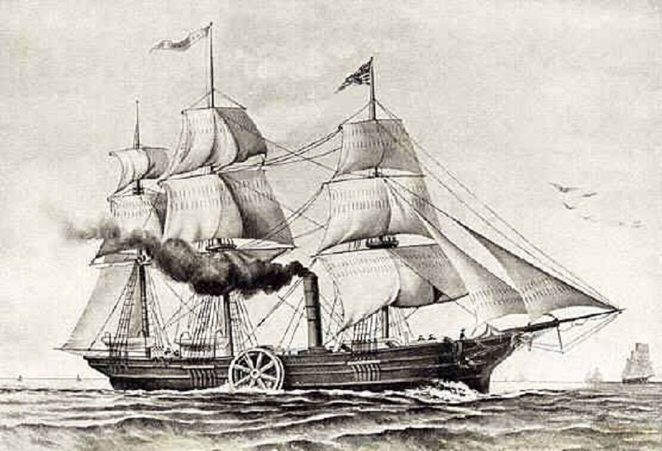 Savannah, 1819. The first steam ship which crossed the Atlantic sea in 25 days.