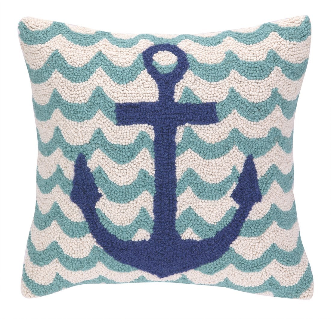 Anchor and Waves Hand Made Hooked Pillow