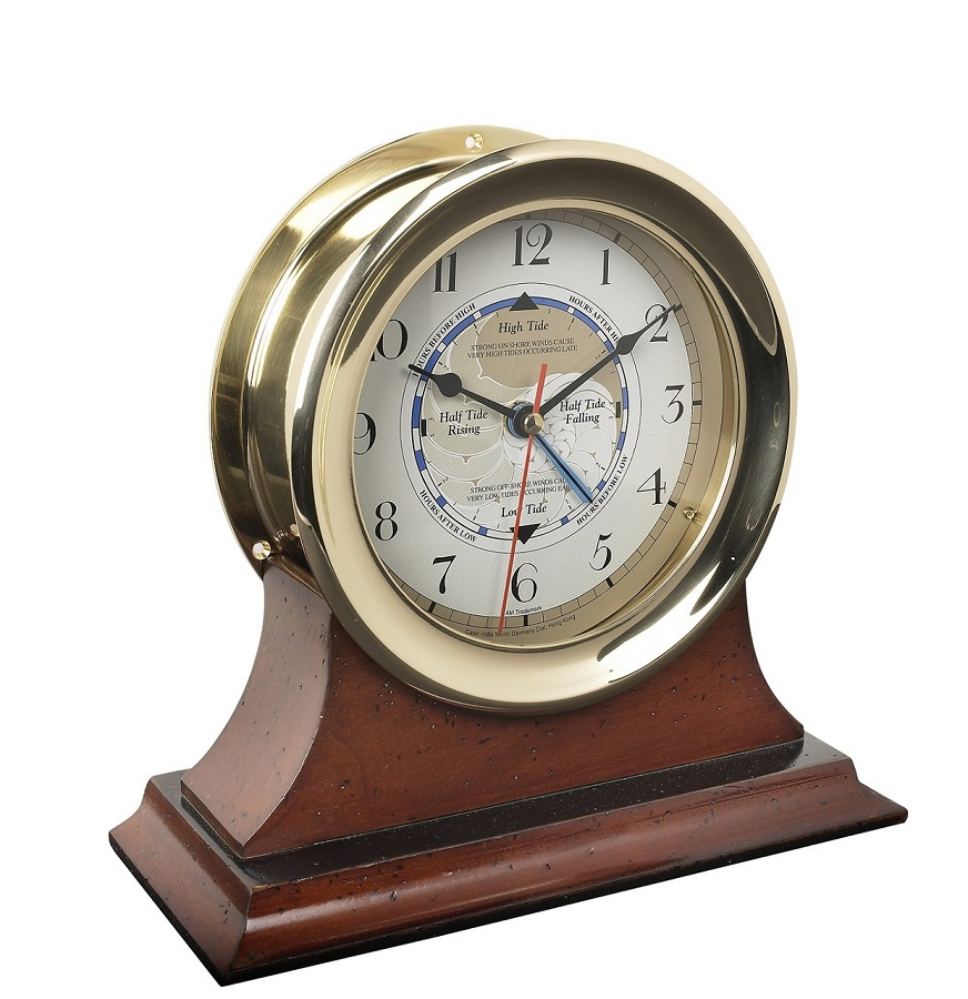 Go Nautical Captain's Time and Tide Clock in Brass with Mahogany Wood Base
