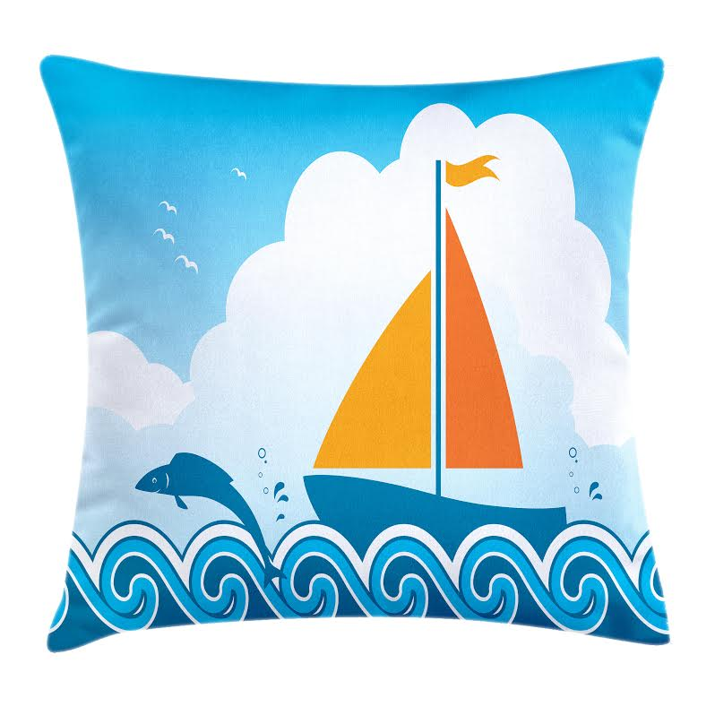 Sailboat Nautical Throw Pillow