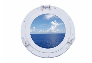 "Brass Deluxe Class Porthole Window 12"" - White"