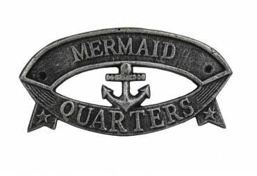 "Antique Silver Cast Iron Mermaid Quarters Sign 9"""