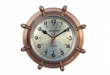 "Antique Brass Double Dial Porthole Wheel Clock 8"""