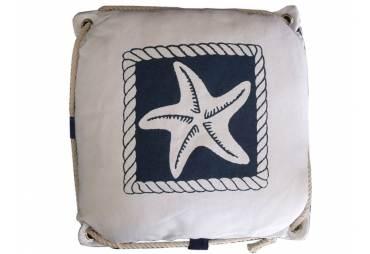 """White Starfish Decorative Nautical Pillow with Rope 15"""""""