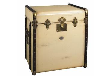 Stateroom Trunk End Table, Ivory
