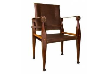 Bridle Safari Leather Campaign Chair