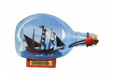 """Blackbeard's Queen Anne's Revenge Pirate Ship in a Bottle 7"""""""