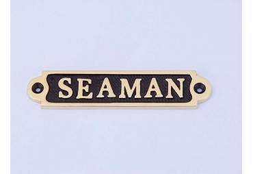 "Solid Brass/Black Seaman Sign 4"""