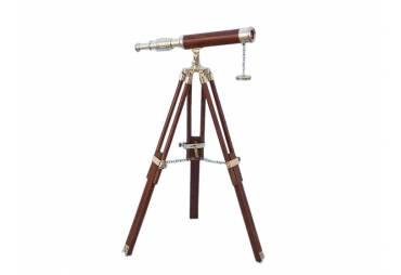 """Floor Standing Brass/Wood Harbor Master Telescope 30"""" - Wood"""