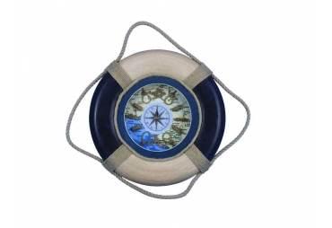 "Blue Antique Lifering Clock 18"""