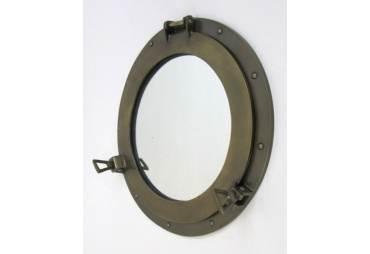 """Aluminum Porthole Mirror Brass Antique 17"""""""