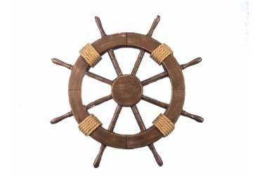Rustic Wood Finish Decorative Ship Wheel