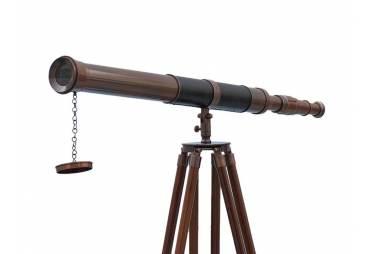 "Admirals Floor Standing Antique Copper with Leather Telescope 60"""