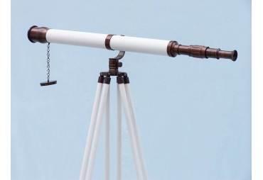 "Floor Standing Bronzed With White Leather Galileo Telescope 65"""