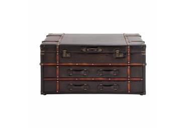 Leather/Wood Coffee Table Hidden Storage Compartment