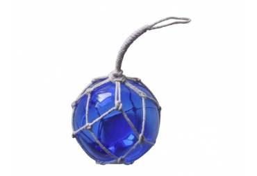 """Blue Japanese Glass Ball Fishing Float With White Netting Decoration 4"""""""