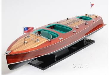 1930's Chris Craft Triple Cockpit Runabout Wooden Boat Model Replica