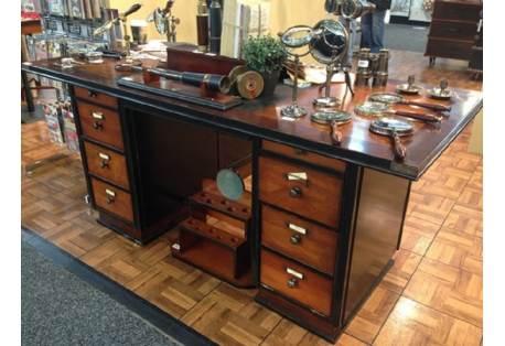 Captain's Office Desk Black Wooden Nautical Maritime Furniture