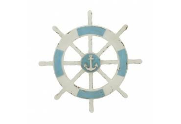 Rustic Ship Wheel with Anchor Nautical Wall Decor