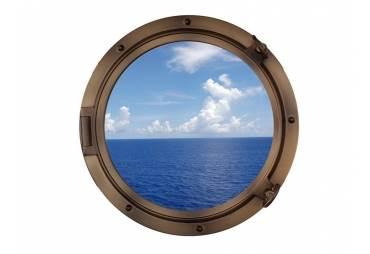 """Bronzed Porthole Window 24"""""""