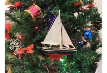 "American Sailboat Christmas Tree Ornament 9"""