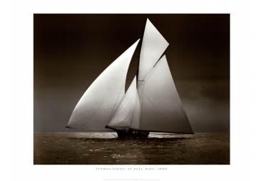 1895 Iverna Yacht at Full Sail
