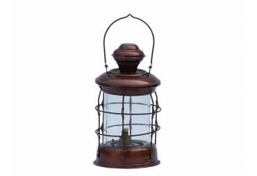 "Antique Copper Admiral Nelson Oil Lamp 12"""