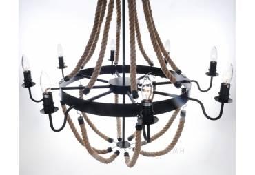 Nautical Themed Large Rope Pendant - 8 Bulbs