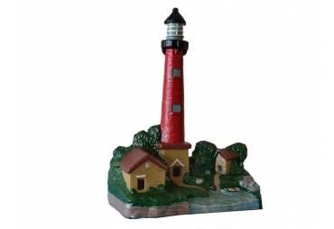 "Cast Iron Red Lighthouse Door Stop 12"""