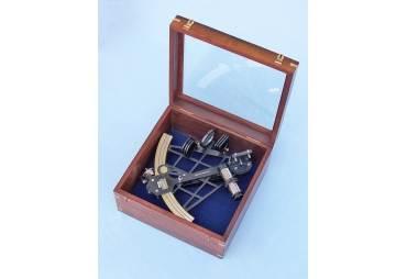 "Black Micrometer Sextant in Wooden Case 14"""