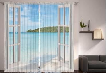 Ocean View Living Room/Bedroom 2 Panel Curtain