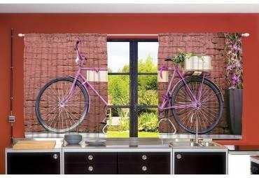 Vintage Bicycle Kitchen Curtain Panel Set Dining Room Window Decor