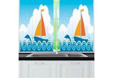 Sailboat Kitchen Curtain Panel