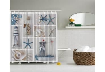 Starfish Seashells Net Shower Curtain Custom Made