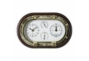 Brass Porthole Clock, Tide Clock, Thermo., & Hygro on Mahogany Wooden Plaque