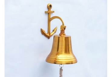 "Brass Hanging Anchor Bell 16"""