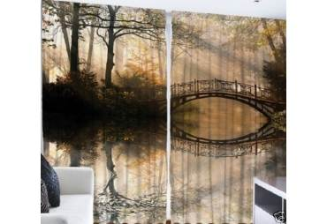 Bridge Over the Creek Curtain Panel Set of 2